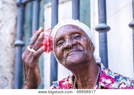 Portrait of a happy cuban woman in Havana, Cuba