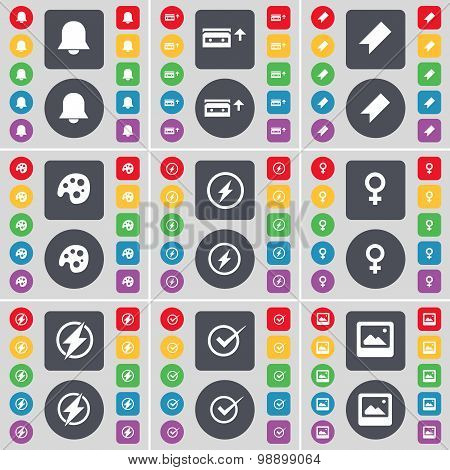 Notification, Cassette, Marker, Palette, Flash, Venus Symbol, Tick, Window Icon Symbol. A Large Set