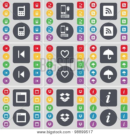 Mobile Phone, Smartphone, Rss, Media Skip, Heart, Umbrella, Wind Icon Symbol. A Large Set Of Flat, C
