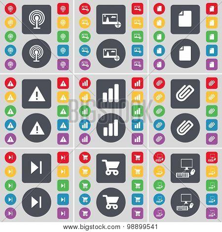 Wi-fi, Picture, File, Warning, Diagram, Clip, Media Skip, Shoppi Icon Symbol. A Large Set Of Flat, C