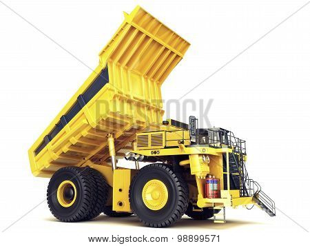 Large industrial mining dump truck on an isolated white background.