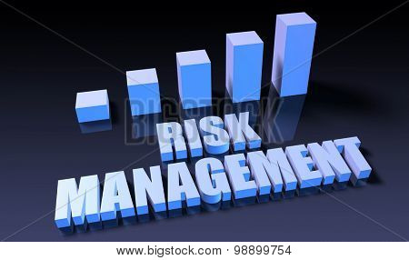 Risk management graph chart in 3d on blue and black