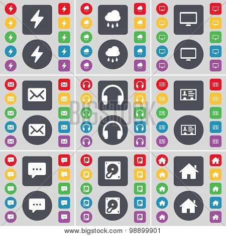 Flash, Cloud, Monitor, Message, Headphones, Contact, Chat Bubble Icon Symbol. A Large Set Of Flat, C