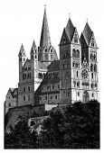 Limburg Cathedral Beautiful Detailed Woodblock Print