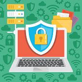 Постер, плакат: Data protection internet security flat illustration concepts