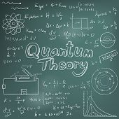 Постер, плакат: Quantum Theory Law And Physics Mathematical Formula Equation Doodle Handwriting Icon In Blackboard