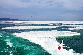 pic of breaker  - Ship ride ice breaker at sea in Hokkaido - JPG