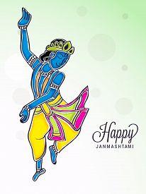 picture of mahabharata  - illustration of a dance Krishna for Happy Janmashtmi - JPG