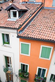 pic of vicenza  - Rooftops and facades of typical houses of Vicenza North Italy - JPG