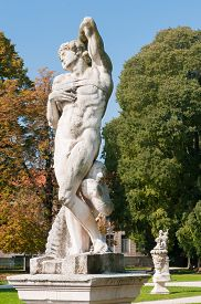 pic of vicenza  - Ornamental white stone statue inside the Giardini Salvi in Vicenza - JPG