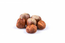 stock photo of filbert  - Hazelnuts nuts filberts isolated on white background - JPG