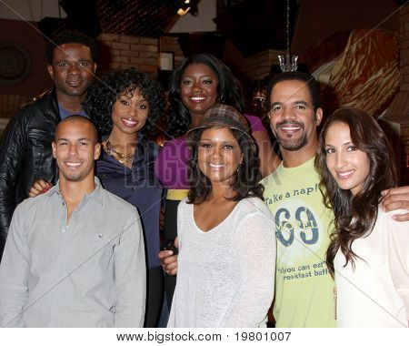 LOS ANGELES - MAR 24:  (Back row l-r)  McCrary, Conwell, Mitchell, (Front Row l-r)Bryton James, T Williams, St John, C Hensley at the Y & R 38th Annive Cake at CBS TV City in LA, CA on March 24, 2011