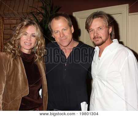 LOS ANGELES - MAR 24:  Eileen Davidson, Kin Shriner, Stephen Nichols at the Young & Restless 38th Anniversary On Set Press Party at CBS Television City on March 24, 2011 in Los Angeles, CA