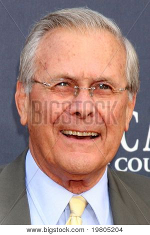 LAS VEGAS - APR 3:  Donald Rumsfeld arriving at the Academy of Country Music Awards 2011 at MGM Grand Garden Arena on April 3, 2011 in Las Vegas, NV.