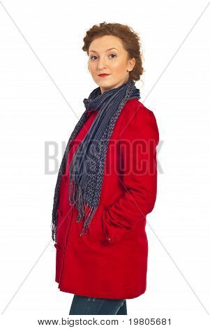 Beauty Woman In Red Jacket And Scarf