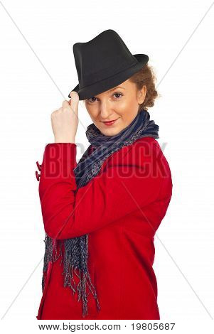Attractive Woman With Hat And Red Coat