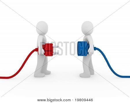 Hombres 3D enchufe azul rojo