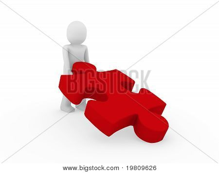 3D Human Puzzle Red