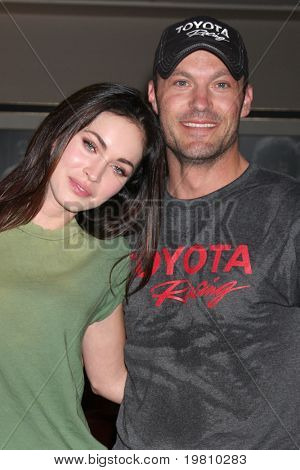 LOS ANGELES - APR 16:  Megan Fox, Brian Austin Green  at the Toyota Grand Prix Pro Celeb Race  at Toyota Grand Prix Track on April 16, 2011 in Long Beach, CA.
