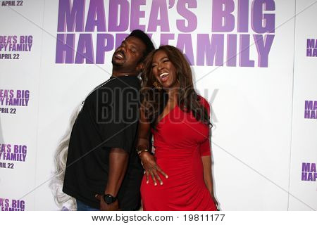 "LOS ANGELES - APR 19:  Craig Robinson, Kenya Moore arrive at the ""Madea's Big Happy Family"" Premiere at ArcLight Cinemas Cinerama Dome on April 19, 2011 in Los Angeles, CA.."