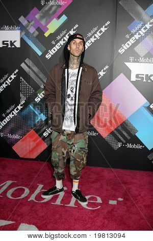 LOS ANGELES - APR 20:  Travis Barker arriving at the Launch Of The New T-Mobile Sidekick 4G  at Old Robinson/May Building on April 20, 2011 in Beverly Hills, CA..