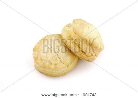 Two Buttermilk Biscuit On White