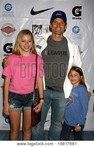 LOS ANGELES - MAY 1:  Casper Van Dien, children arriving at the 1st Annual Ball Up Celebrity Streetball Game at Cal State Northridge's Matadome Stadium on May 1, 2011 in Northridge, CA