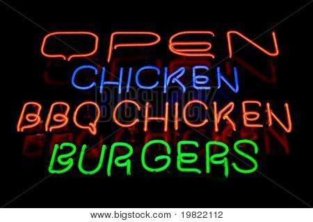 Blue, green and red neon sign of the words 'Open chicken bbq chicken burgers' on a black background.