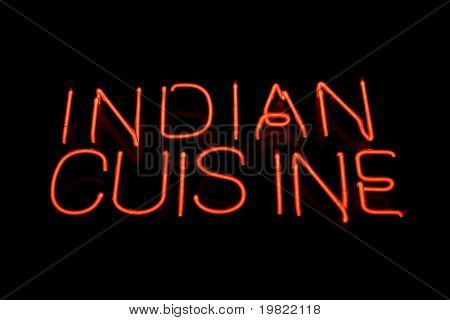 Red neon sign of the words 'Indian cuisine' on a black background.