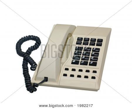 Isolated Cream Desk Phone With Clipping Path