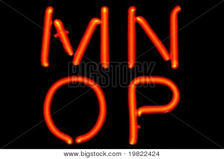 Red neon letters on a black background (MNOP).