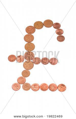 Pound sign made from one and two pence pieces.