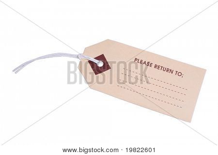 Luggage tag on a white background.