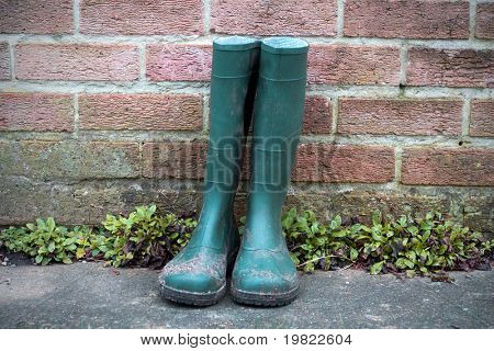 Green wellington boots.