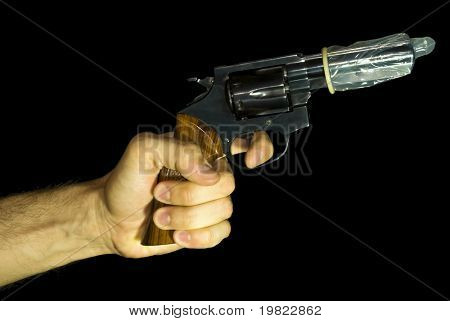 Male hand holding a revolver