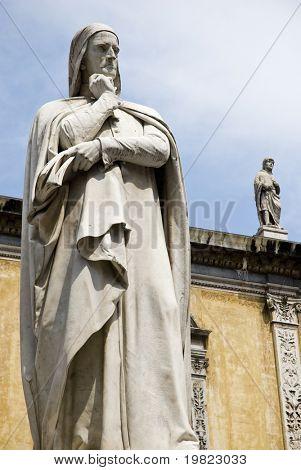 Detail shot of statue of Dante Alighieri, Verona, Italy.