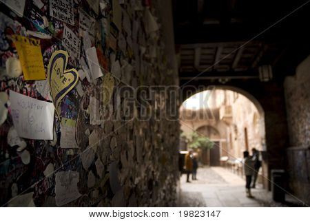 Wall full of messages from lovers in Juliet's House, Verona, Italy.