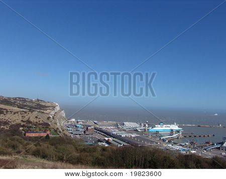 Ferry arriving at Dover port in Kent, England