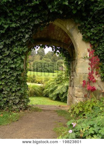 Garden archway of old stone