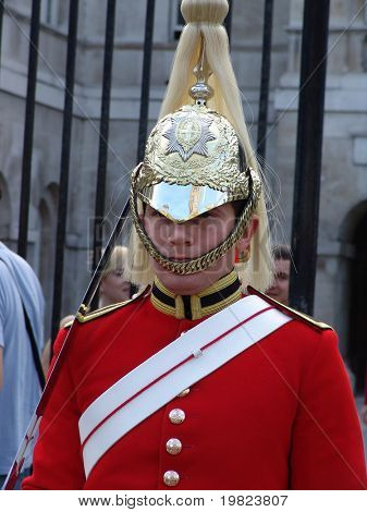 Royal horse guard soldier on duty at palace in London