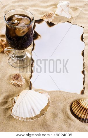 Burned Paper With Shells And Drink