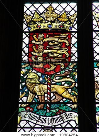 Royal emblem on British stained glass window