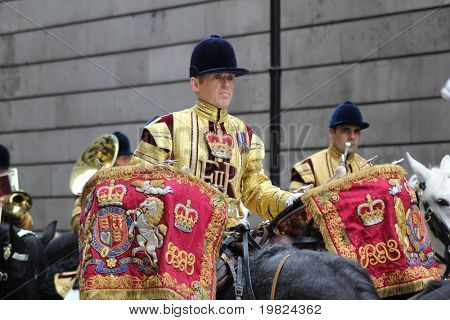 LONDON, ENGLAND - NOVEMBER 12:  Cavalryman playing kettle drums at the Lord Mayor's Show in London on November 12, 2010. The Lord Mayor's Show is held annually in the city of London.