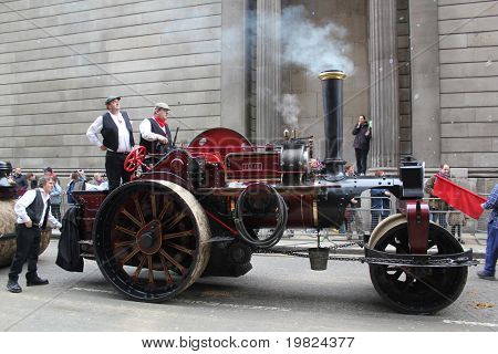 CITY OF LONDON, ENGLAND - NOVEMBER 12: Steam tractor in the Lord Mayor's Show in the City of London November 12, 2010. The Lord Mayor's Show is an 800 year old annual event.