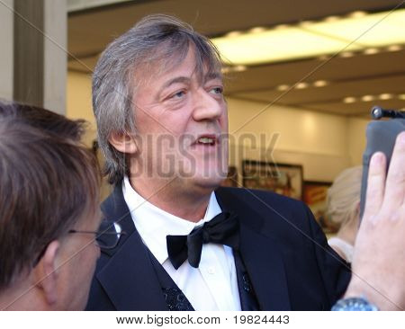 REGENT STREET, LONDON - MAY 11: Stephen Fry the actor and comedian interviewed at prodcut launch in Regent Street, London on May 11, 2009. Stephen Fry is a famous actor and TV presenter,