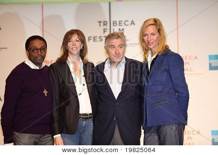 NEW YORK - APRIL 21 : L-R Spike Lee, Jane Rosenthal, Robert De Niro and Uma Thurman at press conference for Tribeca Film Festival opening April 21, 2009 in New York. The festival was founded in 2002