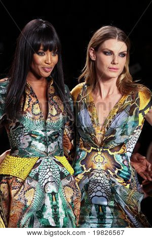 NEW YORK - FEBRUARY 12: (L-R) Naomi Campbell and  Angela Lindvall stand on the runway for the  Fashion for relief-Haiti   during Mercedes-Benz Fashion Week at Bryant Park on February 12, 2010 in New York.