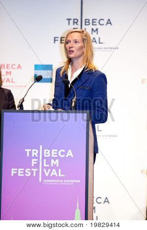 NEW YORK - APRIL 21 : Actress Uma Thurman gives a speech at Tribeca Film Festival opening April 21, 2009 in New York. The festival was founded in 2002 by Jane Rosenthal and Robert De Niro.