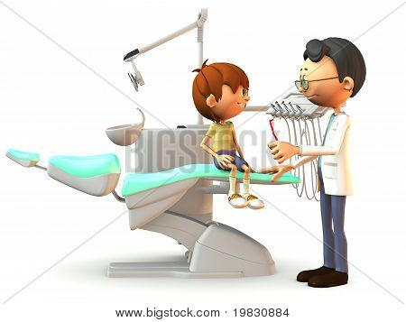 Cartoon Boy Visiting The Dentist.