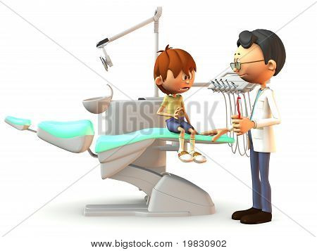 Scared Cartoon Boy Visiting The Dentist.